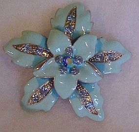 Vintage blue enamel flower pin with aurora rhinestones