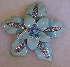 Vintage blue enamel flower pin with aurora rhinestones