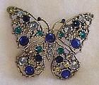 Vintage rhinestone butterfly pin in blue & green WOW!