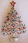 Festive  Christmas tree pin w/enamel ornaments