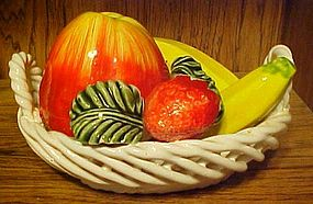 Capodimonte style woven basket with fruit decoration