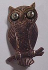 Vintage solid copper owl pin AWESOME