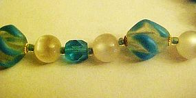 Vintage glass bead and moonglow choker blue colors
