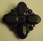 Large black faux onyx stone pin