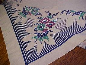 Vintage cotton print tablecloth Blue green burgundy