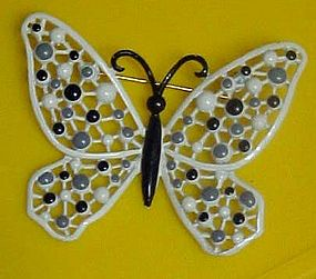 Vintage enamel paint filigree butterfly pin