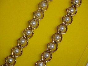 Vintage Napier pearl and gold link necklace