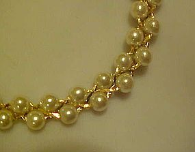 Lightweight braided faux pearl necklace