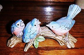 Bluebird family  on branch  bird figurine