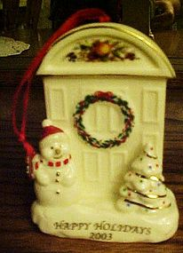 Happy Holidays 2003 porcelain ornament Snowman & door