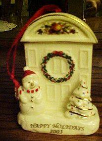 Happy Holidays 2003 porcelain ornament Snowman & door