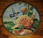 Costa's Hummingbird & Hollyhocks plate by Cyndi Nelson