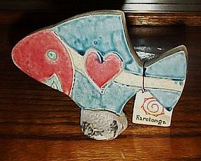 Pottery fish figurine souvenir of Rarotonga w/tag