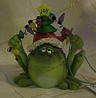 Russ Toadily Yours Frog with Christmas lights figurine