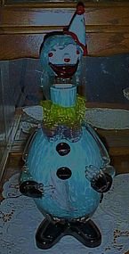 Vintage  blue spatter Murano clown decanter