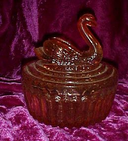 Jeanette glass pink swan powder jar lipstick holder