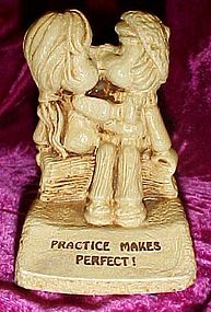 Vintage Paula figurine Practice makes perfect, kissing