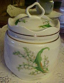 LEC LeClair Limoges lily of the valley covered jar