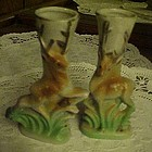 Vintage mini vases with deer, hand painted pair 4 1/8""