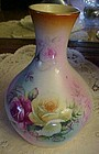 "RS floral  roses 7"" vase  PRETTY"