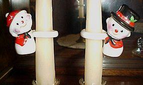 Vintage porcelain snowmen candle climbers