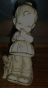 Antique girl and dog chalk figurine 9""
