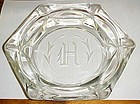 Elegant Vintage Cut Crystal Monogram H  cigar ashtray