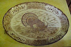 Large vintage  oval turkey platter brown transferware