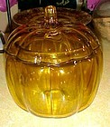 Amber glass pumpkin cookie jar