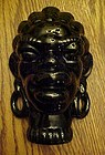 Vintage African Native black glazed pottery head