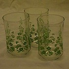 Vintage Libbey juice glasses with green spring florals