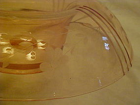 Pink depression rolled edge console bowl, flower etched