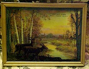 Vintage silhouette reverse painted deer picture Redding