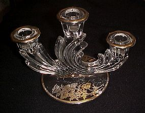Fostoria Baroque 3 lite candle holder silver overlay