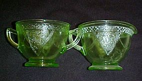 Federal Georgian Lovebirds  green creamer and sugar