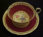 Aynsley #340 bone china cup and saucer floral/burg