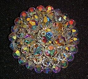 """Large 2"""" vintage aurora borealis pin, Stunning!"""