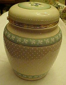 Victorian look polka dot hinged cookie jar