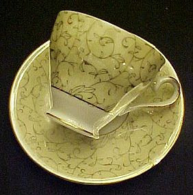 Vintage yellow lustre teacup and saucer set