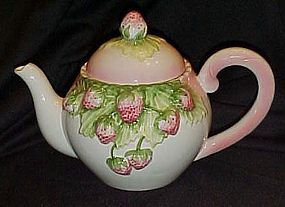 Hand painted strawberry teapot