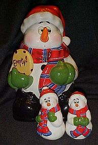 Thats Kooky Snowman cookie jar with matching shakers