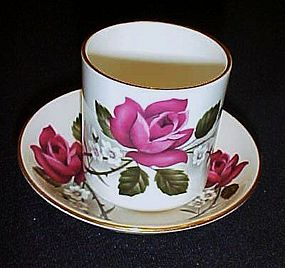 Heathcote England handleless demi cup and saucer roses