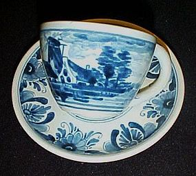 Blue Delft demitasse cup and saucer Holland windmill