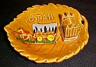 Vintage souvenir Utah leaf dish with covered wagon