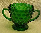 Anchor Hocking forest green bubble sugar bowl