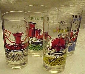 Antique fire engine truck drinking glasses Fire Fire