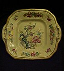 Antique Indian Tree square cake plate by Edge, Malkin