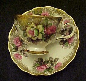 Vintage Napco cup and saucer set  white and pink roses
