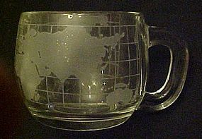 Vintage Nescafe glass coffee mug premiums world etched