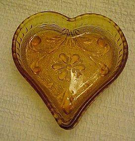 Tiara sandwich amber  glass heart nut dish  by Indiana